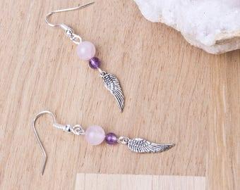 Angel Wing Gemstone Earrings   Rose quartz and amethyst gemstone dangle earrings   Angel wings   Angel jewellery   Feather wing earrings