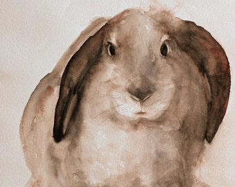 easter bunny painting rabbit PRINT easter Print Bunny PRINT bunny art print Bunny Nursery art print baby girl wall decor brown white