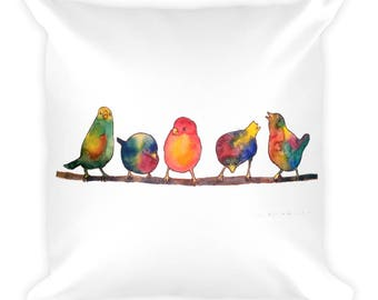 Square Sweet Watercolor Song Birds Pillow