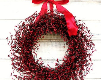 Christmas Wreath-Winter Wreath-Holiday Home Decor-RED BERRY Wreath-Farmhouse Wreath-Holiday Wreath-Christmas Gift-Valentines Day Decor-Gifts