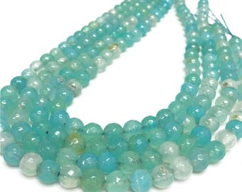 8mm Faceted Agate Beads, Sky Blue Agate Stone,Gemstone Beads