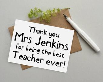 Teacher card -  Thank you teacher card - Personalised teacher card - Best teacher ever card - End of term teacher card - Thank you card