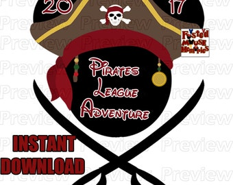 Digital Pirate Mouse Head Pirate Mickey Ears Pirate League Shirt Transfer - DIY Pirate Mouse Head Shirt