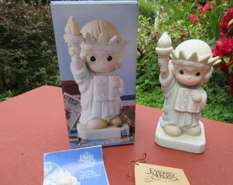 """Vintage Enesco Precious Moments """"America You're Beautiful"""" in Box #528862  Dated 1992/93"""