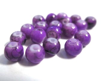 50 speckled Black 4mm purple glass beads