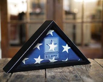 Flag Display Case, Flag Case, Flag Memorabilia Display, Army, Navy, Air Force, Marine, Veteran, Military, Coast Guard, Military Funeral