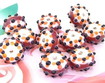 5beads/lot Charm Candy Black Dot Rondelle Coffee Lampwork gemstone beads 8mmx15mm