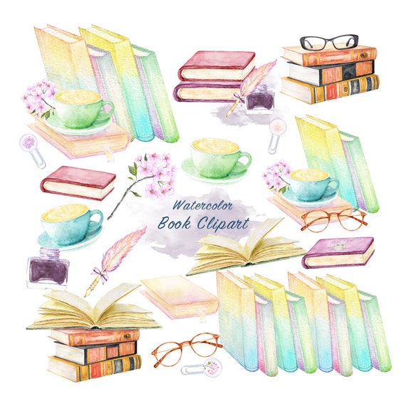 Watercolor Books Clipart Educational Items Download