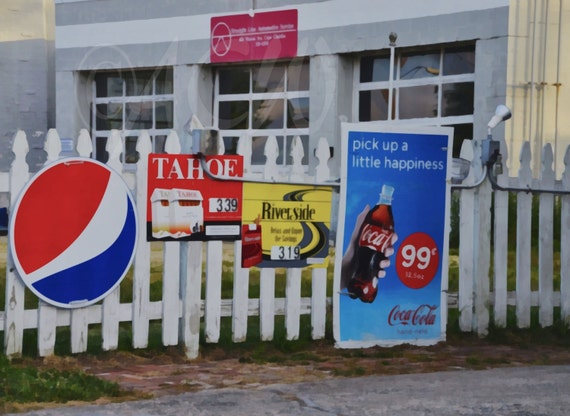 Old signs on a fence in downtown Cape Charles Virginia (canvas)