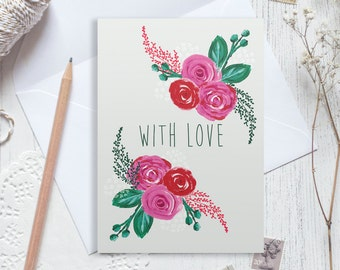 With love card, thinking of you card, sympathy card, good luck card, greetings card