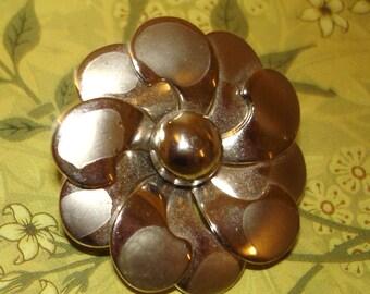 vintage silver pinwheel flower brooch