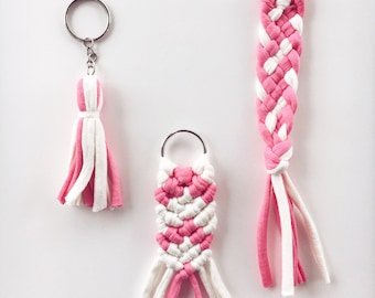 Pink and White Macrame, Braid, or Tassel Keychain - Recycled Jersey T-shirt Fiber Yarn - Cute Spring Accessory - Easter Basket Gift Idea