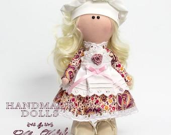 Textile doll Handmade doll Fabric doll Tilda doll Soft doll Cloth doll Collectable doll Interior doll.