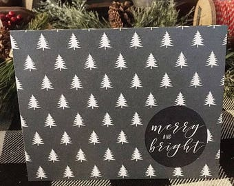 Merry and Bright, Christmas Card, Tree Print