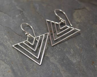 Sterling Silver Art Deco Triangle Earrings, Geometric Earrings