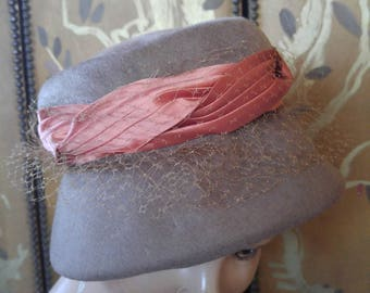 60s Brown felt wool hat with orange ribbon and net veil by Henry Pollak Inc NY