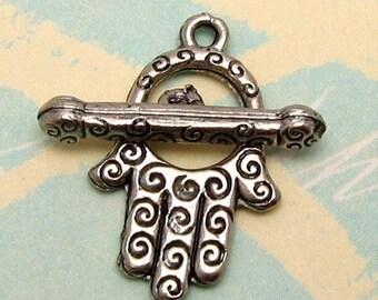 Chamsa Hand Toggle Clasp Antique Pewter, Hamsa, Hand Of Fatima AP25