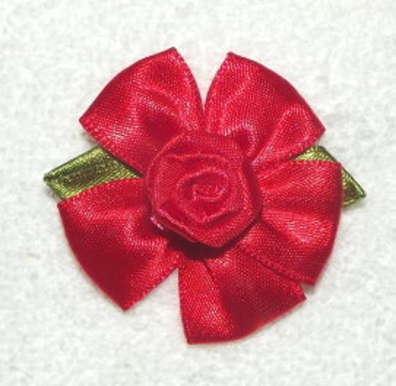 "large 2""  dark red ribbon roses appliques daisy like flowers"