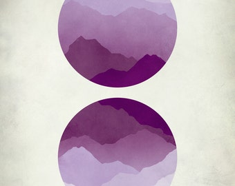 Mid Century Modern Art, Abstract Landscape, Minimalist Poster, Geometric Art, Purple art