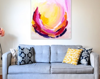 The Light That Burns Within 1 - 20x20 on Stretched Canvas, Abstract Art, Bright Home Decor, Wall Decor, Interiors, Fall Decor