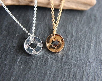 Compass Compass necklace Chain gold or silver shiny