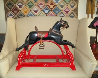 20% off limited time....REDUCED   Vintage Rocking Horse Early 1900's  Whitney Reed
