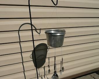 """VINTAGE 9"""" wide aluminum colander / strainer wind chime / mobile / planter"""