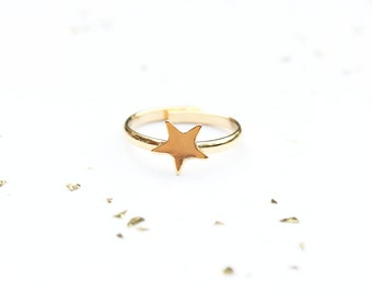 Star Ring Gold, Delicate Star Ring, Adjustable Star Ring, Vintage Star Ring, Gold Star Ring, Small Gold Star Ring, Star Shaped Ring