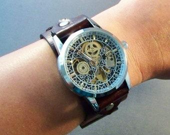 Leather Watch-Steampunk Watch-Mechanical Watch-Dad Gift-Men Watch-Women Watch-Watch Cuff-Gift for Men-Gift for Her-Gifts-Wrist Watch-Watches