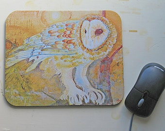 Mouse Pad / Barn Owl Painting Expressionistic Style