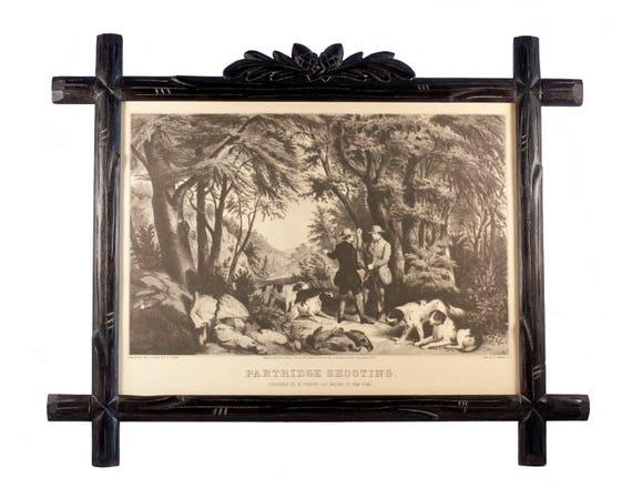 """Hand-Carved Black Forest Frame with Vintage Currier & Ives """"Partridge Shooting"""" Hunting Print"""