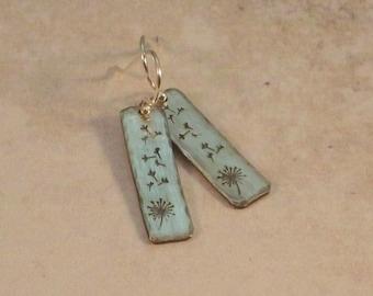 EA760- Sterling Silver Dandelion Earrings- dandelion jewelry - handstamped earrings- sterling earrings