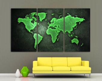 World map canvas print 3 panel split black and white art 3 panel split greenblack art world map canvas print 15 deep frames gumiabroncs Image collections