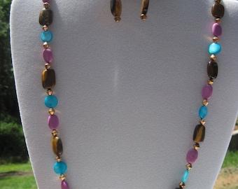 OOAK Beautiful Semi Precious Tigers Eye,Purple Jade & Mother of Pearl Beaded Necklace and Earring Set...482h