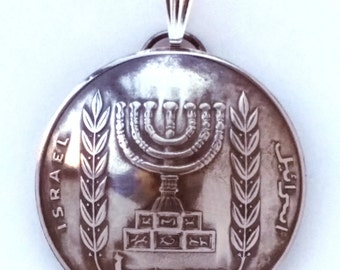 Menorah Jewelry Israel Coin Pendant 10 Agorot Vintage Necklace
