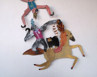 Circus Trio Bundle V1 / 3 piece set Plumed Horse Cat Monkey Articulated Decoration  / Hinged Beasts Series