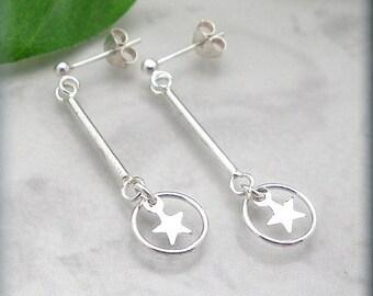 Falling Star Earrings, 925 Sterling Silver, Posts, Stud, Fashion Earrings, Celestial Jewelry, Lightweight Earrings