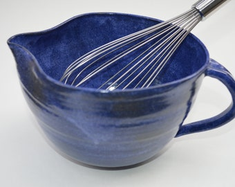 Handmade Ceramic Pottery Blue Batter Mixing Bowl Kitchen Tools Cooking Chef Housewarming- READY TO SHIP