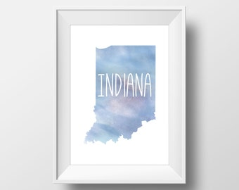 Indiana State Blue Watercolor Printable Art, Indiana Print, Indiana Art, Modern Art,
