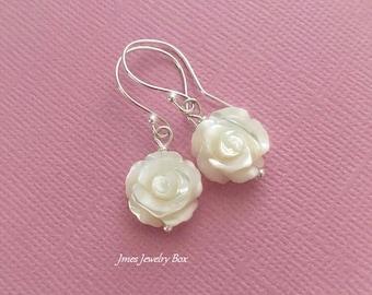 White shell rose earrings, Mother of pearl rose earrings, White rose earrings, White flower earrings