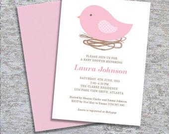 Bird Nest Baby Shower Invitation – DIY Printable Personalised – Baby Girl (Digital File)