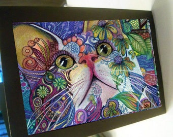 greeting card print of original art-  cat flower power Zentangle spirit animal