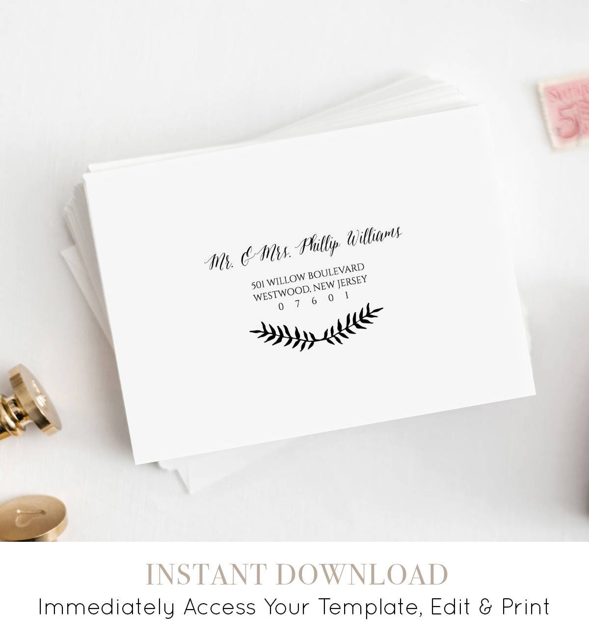 Custom Envelope Template, Printable Wedding Address