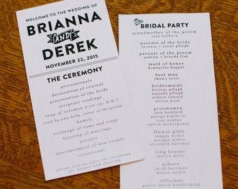 Geometric Customized Wedding Programs - Digital File Only