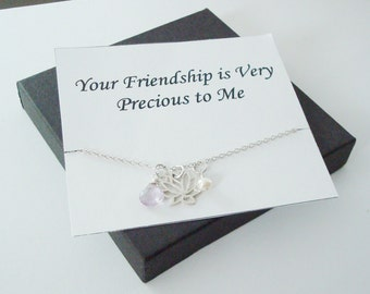 Lotus Charm with White Pearl and Pink Amethyst Silver Necklace ~Personalized Jewelry Gift Card for Friend, Best Friend, Sister, Bridal Party
