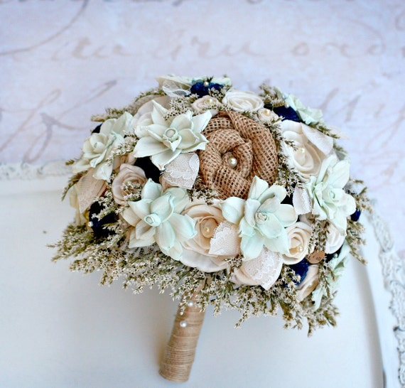rustic wedding flower bouquets rustic wedding bouquet mint and navy bridal bouquet dried 7216