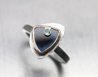 Raw Dark Blue Bi-Color Tourmaline Green Emerald Ring Silver 14K Rose Gold Statement Band Triangular Rough Gemstone Butterfly - Emperor Wing