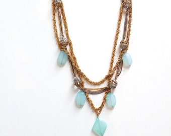 Upcycled Statement Necklace-Triple Layered Necklace with Milky Blue and Green Shade Beads-Multi Strand Necklace
