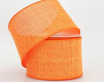 10 yards Orange Linen Halloween Wire Edge Ribbon - Orange Rustic Ribbon, Ribbon for Wreaths, Fall Wire Edge Ribbon