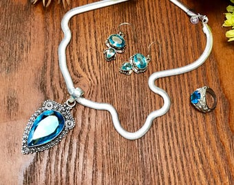 JEWELRY SET:  Blue Topaz & Sterling Silver